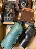 2 vintage cameras, Russian spotting scope