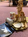 2 flats woman figures, Playboy cup, leather pouch, Anita Ekberg photo/print
