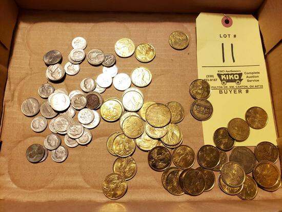 Assorted US Coins and Tokens