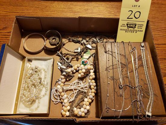Assorted Costume Jewelry, Wood Box