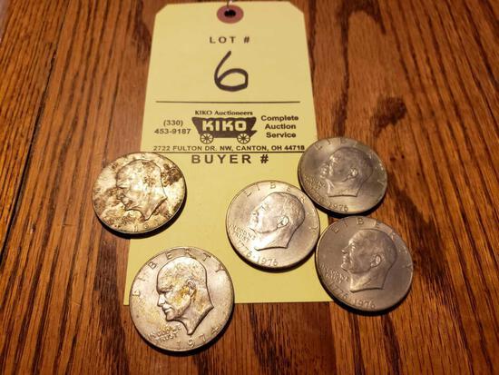 1974, 1978, (3) 1976 Eisenhower Dollars