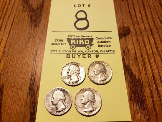 1942, '52, '54, '56 Silver Quarters