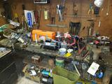 Assorted Tooling, Hardware, Contents on and under Workbench