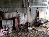 Tiller, Wheelbarrow, Beer Sign, Contents of Wall