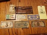 Assorted Foreign Paper Money, Stamps, US Army Papers