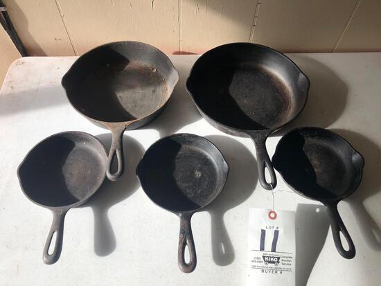 (5) cast-iron skillets