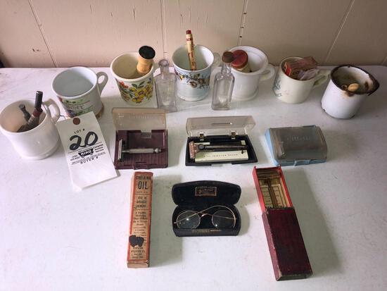 Antique razors - shaving cream brushes - etc