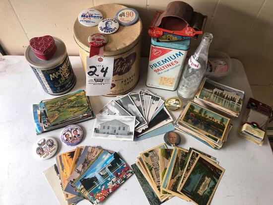 Old postcards - pins - tobacco roller - Pepsi bottle - tins