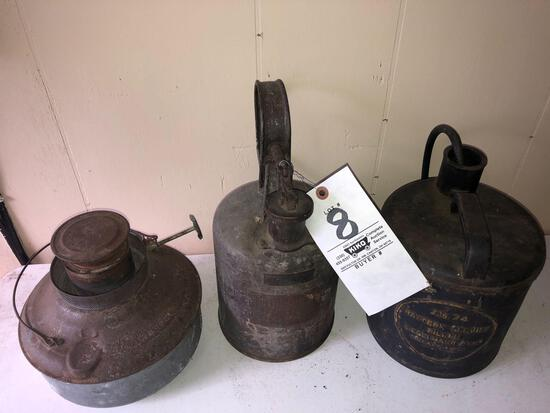 Antique gas and battery service cans and kerosene heater
