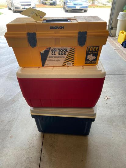 (2) Coolers, Toolbox