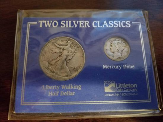 1941 Walking Liberty half, 1942 mercury dime