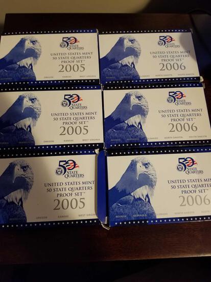 2005 and 2006 quarter sets, bid x 6