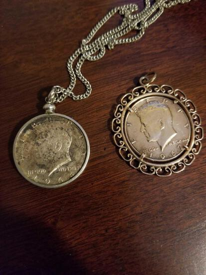 1964 and 1967 Kennedy halves in necklace cases, bid x 2
