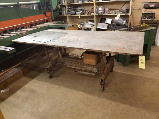 4ft x 8ft homemade layout table on casters