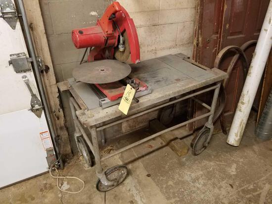 Milwaukee metal chop saw and roll around cart