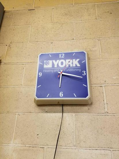 York electric plastic clock, works 15 inches square