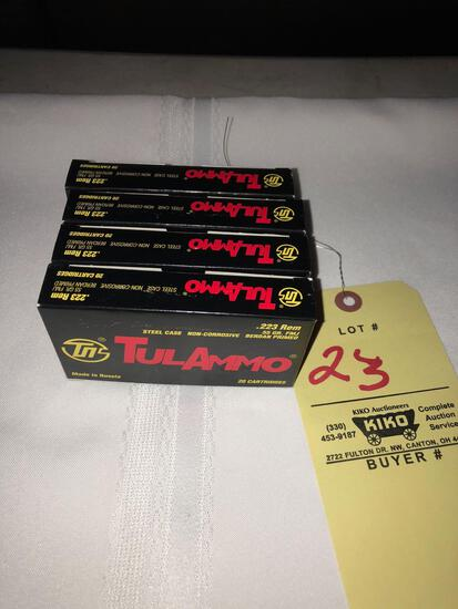 (4) boxes TulAmmo .223rem