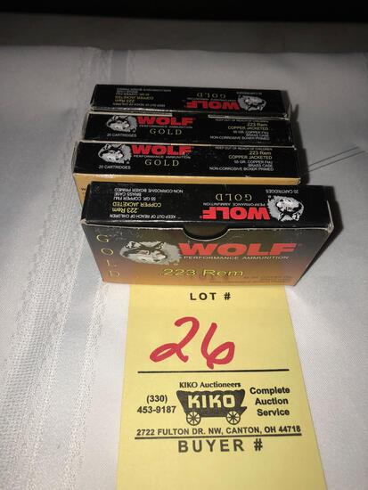 (4) boxes Wolf Gold .223rem ammo