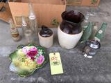 Old bottles incl. Pepsi and Coke - stoneware jug and pitcher (pitcher has crack/hole in base)