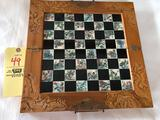 Nice Carved Chess set/oriental inlaid board