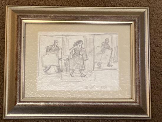 "Clyde Singer original pencil, ""Art Movers"", 3.5 x 5 scene, 7 x 9 frame."