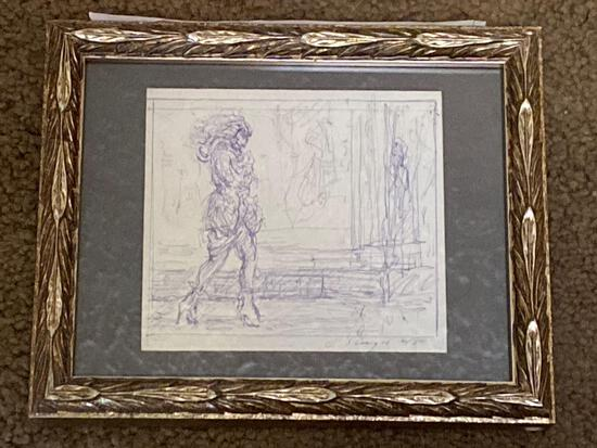 "Clyde Singer pen drawing, ""Lady Walking"", 6/80. 3.75 x 4 scene, 5.5 x 7 frame."