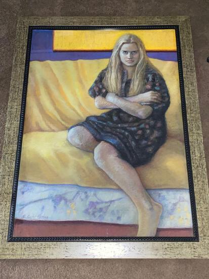 "Cleo Clark Williams original pastel on paper, ""Misty"", 39 x 28 scene, 43 x 32.25 frame."