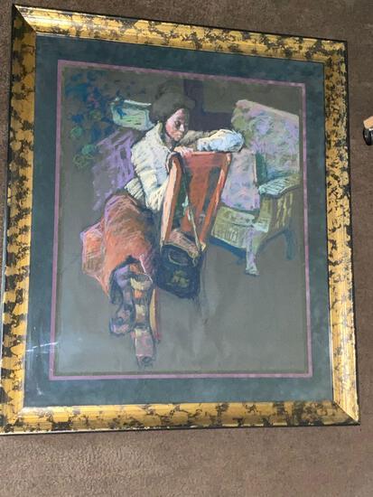 "Cleo Clark Williams original pastel, ""Black Lady Sitting"", 29 x 23.5 scene, 35.5 x 37.5 frame,"