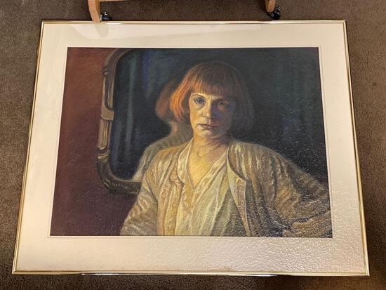"Cleo Williams original pastel, ""Pauline"", 25.5 x 34 scene, 32 1/8 x 40.25 frame."