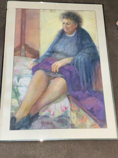 """Cleo Williams original pastel, """"Zipperhead"""", 1988, 44.5 x 32.5 frame. Pastel is touching & clinging"""