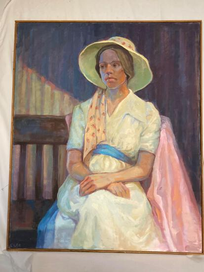 """Cleo Williams original oil on canvas, """"Lady in Waiting"""", 39.5 x 32.5 frame."""