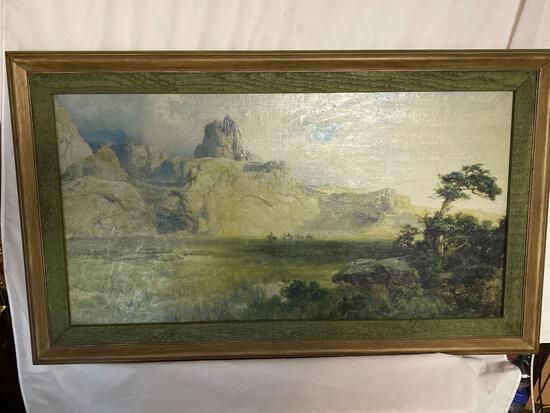 Thomas Moran print of 1915 painting. 41.5 x 24.5 frame size.
