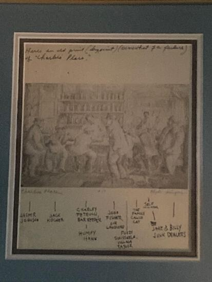 """Clyde Singer original dry point with names of all characters at """"Charlie's Place"""" bar 1935. 4.75"""" x"""