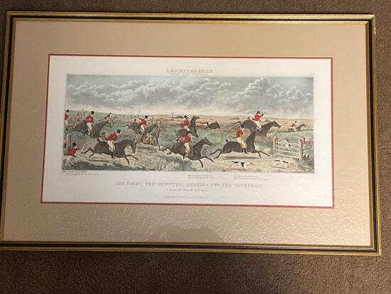"John Dean Paul, ""Leicestershire Shaking Off the Cocktails"" hunt scene, hand colored restrike from"