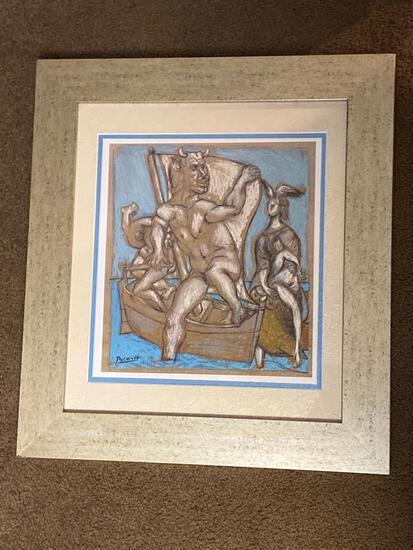 "Picasso print, ""Femme et Minotaur, limited edition #26 of 95 made, 18 x 20 frame."