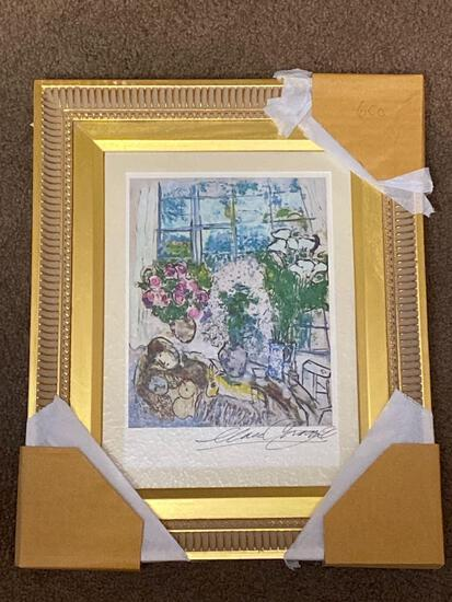 Marc Chagall ink signed print, 16 x 13 frame.