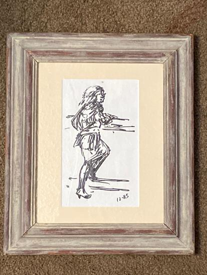 "Clyde Singer, ""Waiting for a Drink"" original pen on paper, 1985, 7.5"" x 4.5"" scene, 11 x 13 Frame."