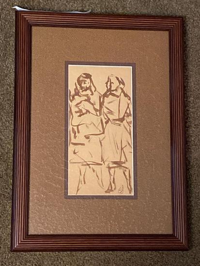 "Clyde Singer original ink, ""Two Women"", 1960's, 9"" x 4.5"" scene, 16"" x 11.5"" frame."