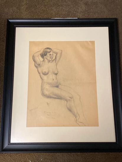 "Clyde Singer original graphite, ""Nude"" from John Stuart Curry's class April 1933 New York, 20 x 15.5"