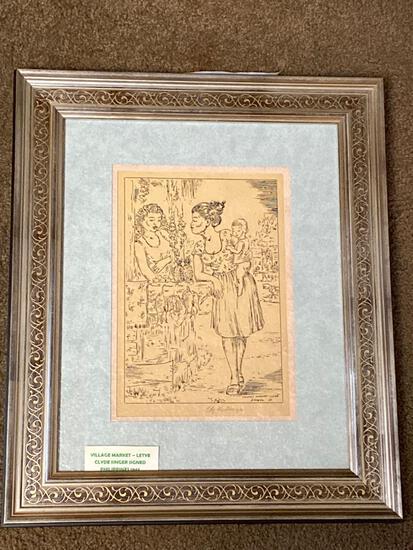 "Clyde Singer print, ""Village Market - Leyte"", 1945 Philippines, 10 x 8 scene, 18.5 x 15.5 frame."
