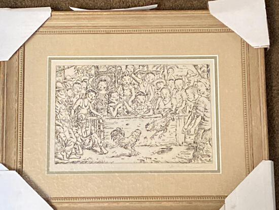 """Clyde Singer print, """"Cock Fight"""", Philippines 1945, 8 x 12 scene, 15 x 18.5 frame."""