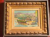 Illegibly signed oil/board, sail ship scene, 11.5 x 9.5 frame.
