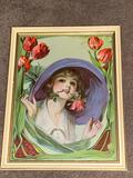 Die cut litho of girl with roses, 13.5 x 17.5 frame.