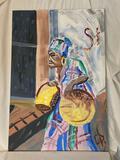 Original oil/canvas, tribal woman w/ baskets scene, initial signed, 24 x 36.
