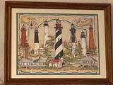 Donna Elias 1999 print of lighthouses, 17.75 x 13.75 frame.