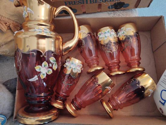 7pc Bohemian Style Glass w/ Vase Set