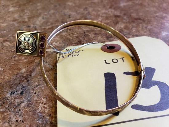 Marked 10K Bracelet and Pin