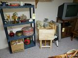 Snack Trays, Plastic Shelf and Contents, TV and Stand