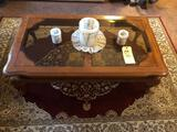Glass Top Coffee Table and Two Endstands