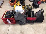 Tool bags, hard hat, work gloves